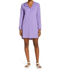 women's l.l. bean sand beach hooded cover-up tunic, size small - purple