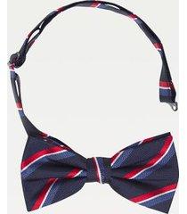tommy hilfiger men's microprint silk bow tie navy/red/white -