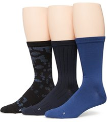perry ellis portfolio men's 3-pack performance microfiber hexagon mix crew socks
