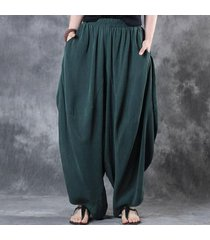 zanzea mujer de algodón de lino pierna ancha pantalones elásticos de la cintura de la vendimia sólido ocasional pantalones anchos harem pantalones de la linterna verde de gran tamaño -verde
