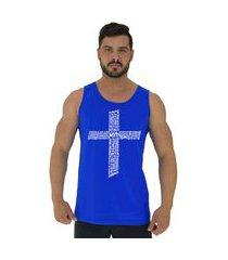 regata clássica masculina alto conceito crucifixo motivacional azul royal