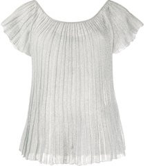 missoni pleated boat neck t-shirt - grey