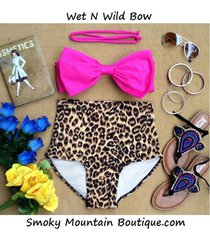 wet n wild bow retro high waist swimsuits (pink top and lepoard print bottom)