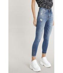 calça jeans feminina cropped sawary com tachas azul médio