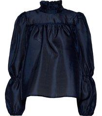 palma blouse blouse lange mouwen blauw lollys laundry