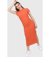 vestido naranja muaa linen