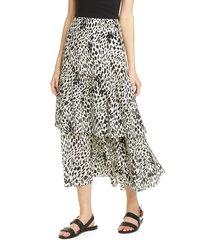plus size women's lafayette 148 new york zia tiered silk midi skirt, size 16 (similar to 14w) - black