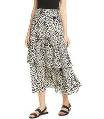 women's lafayette 148 new york zia tiered silk midi skirt, size 6 - black
