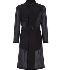dolce & gabbana sheer-panelled trench coat - black