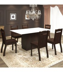 mesa de jantar 6 lugares valsa ameixa/chocolate/branco - mobilarte móveis