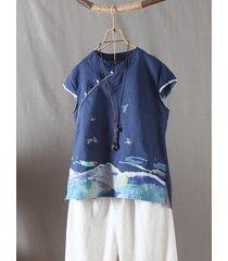 camicetta con bottone a forma di rana con ricamo vintage in stile cinese