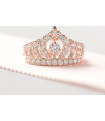0.40 ct round cut diamond princess tiara crown ring 18k rose gold finish