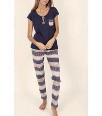 pyjama's / nachthemden admas innerwear pyjamabroek t-shirt blue valance marine