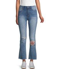 driftwood women's roxy x mischief embroidery kick flare jeans - medium wash - size 25 (2)