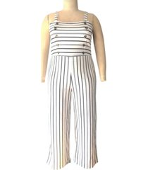 derek heart trendy plus size striped jumpsuit