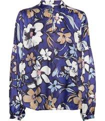haniffa blouse lange mouwen blauw munthe