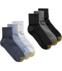 gold toe women's turn cuff 6 pack socks, also available in extended sizes