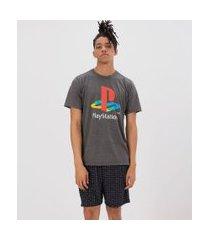 pijama curto com estampa playstation | playstation | cinza | gg