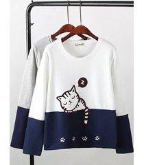 gatti di donne stampati contrasti colore maglione pullover da donna