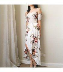 vestido casual generico playa estampada de gasa - blanco