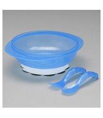 prato bowl com talheres - azul - 01243