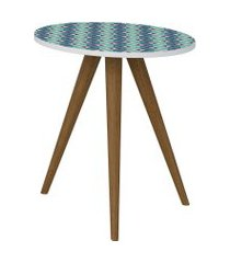 mesa lateral 500 branco/estampa azul be mobiliário