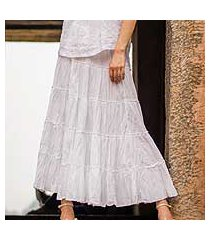 cotton skirt, 'frilly white' (india)