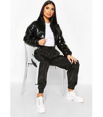 petite cropped high shine padded jacket, black