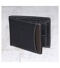 men's leather wallet, 'city sophisticate in black' (india)