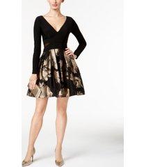 xscape v-neck brocade illusion dress