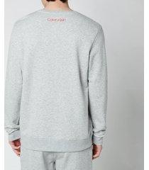 calvin klein men's chest logo sweatshirt - grey heather - xl