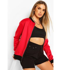 ma1 zip detail scuba bomber jacket, red