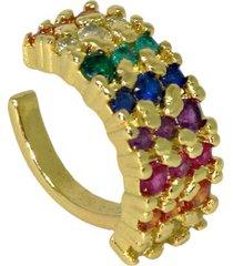 brinco infine piercing falso rainbow colorido banhado a ouro - dourado - feminino - dafiti