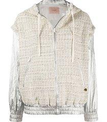 twin-set jaqueta bomber de tweed - neutro