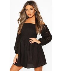 petite crinkle skater dress, black