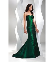 beautiful elegant dark green fitted strapless mermaid trumpet taffeta prom dress