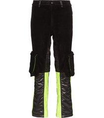 duoltd paneled straight-leg trousers - black