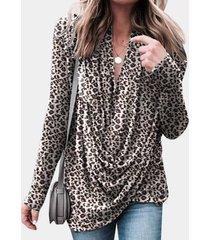 yoins marrón cruzado frontal diseño blusa de manga larga con cuello en v de leopardo