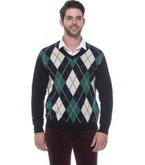 suéter jacquard escocês passion tricot marinho
