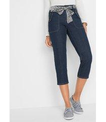 stretch capri jeans met ceintuur