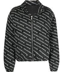 alexander wang logo-print zip-up jacket - grey