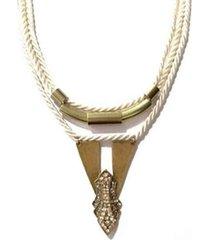 colar armazém rr bijoux cordão bege ouro velho
