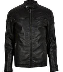 river island mens big & tall black faux leather racer jacket