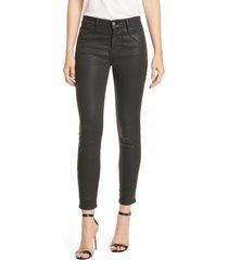 women's frame le high waist coated skinny jeans, size 23 - black