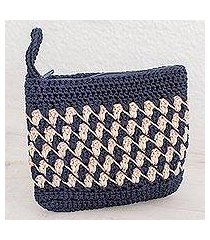 crocheted cosmetic bag, 'zigzag textures in ivory' (guatemala)