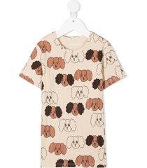 mini rodini fluffy dog t-shirt - neutrals