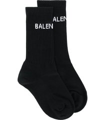balenciaga logo knit socks - black