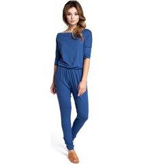 jumpsui be b038 kraag jumpsuit - blauw