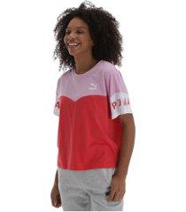 camiseta puma xtg colorblock - feminina - vermelho