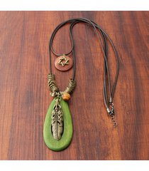 collane con ciondolo in legno ovale di piume bohemien collana lunga da donna con doppio strato vintage